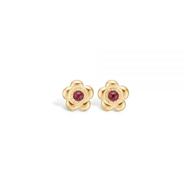 ruby and gold stud earrings flower