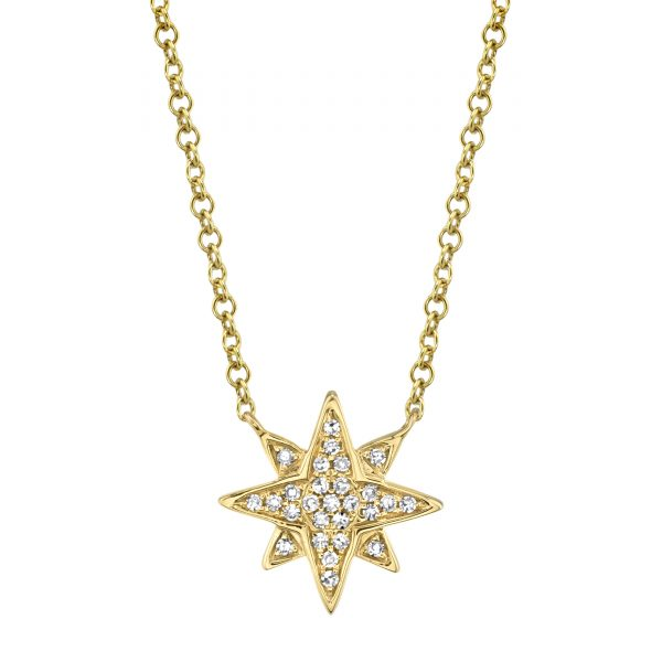 diamond star necklace yellow gold