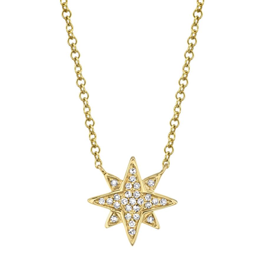 diamond star necklace yellow gold