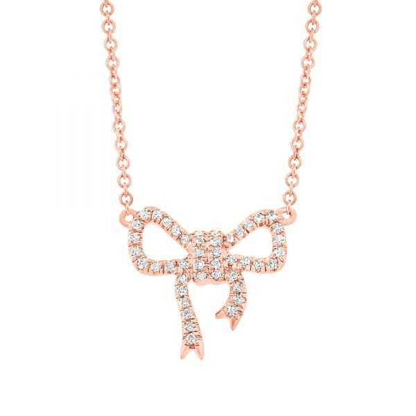 bow necklace rose gold