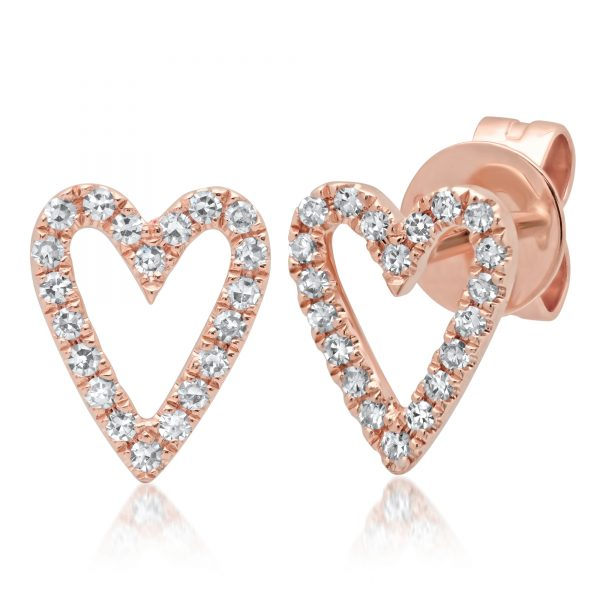 rose gold heart shaped diamond earrings