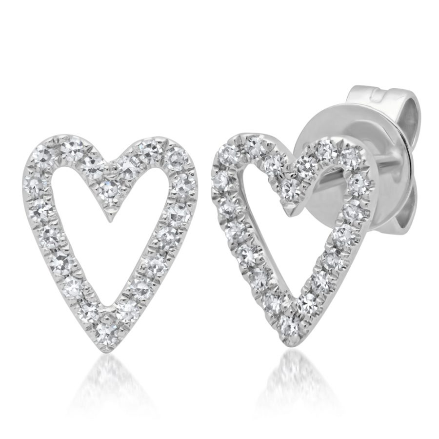 diamond heart earrings white gold