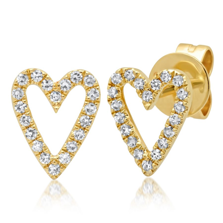 heart shaped diamond earrings yellow gold
