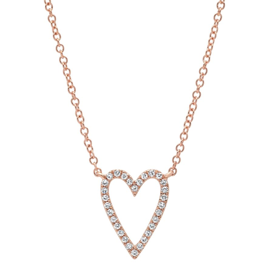 rose gold diamond heart necklace