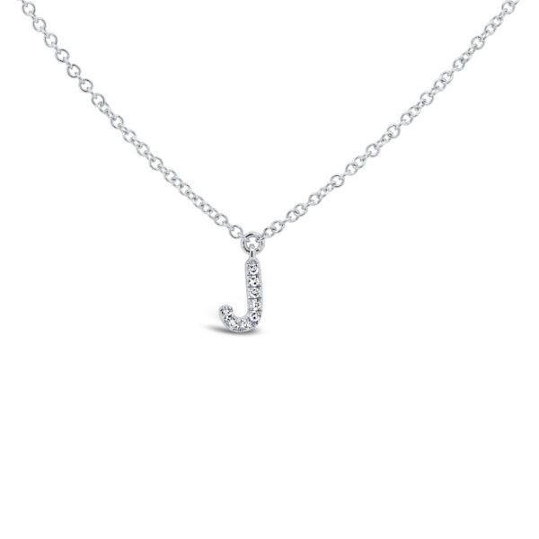 diamond initial pendant necklace white gold