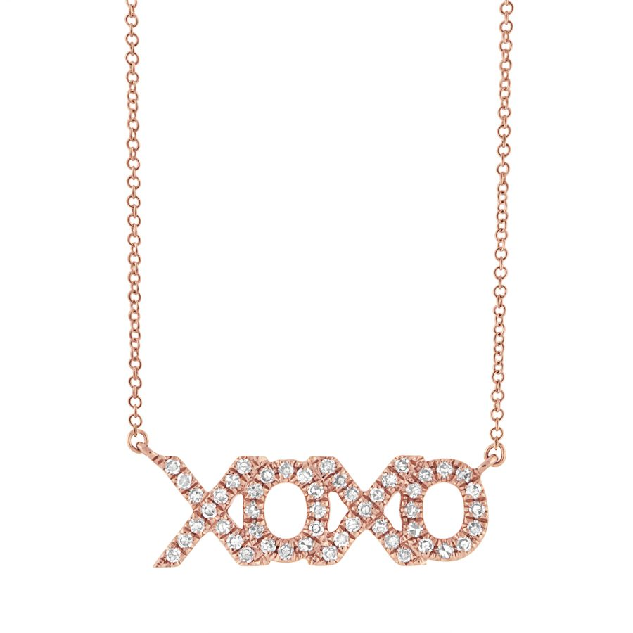 hugs and kisses necklace rose gold