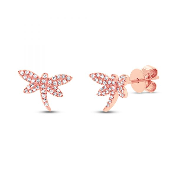 rose gold dragonfly earrings