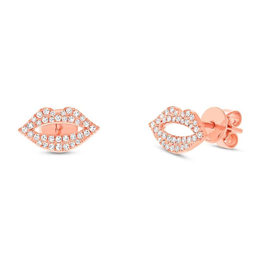 rose gold pave diamond earrings